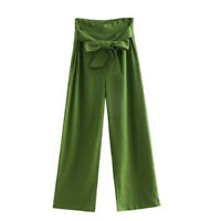 Womens Pants High Waisted Palazzo Pants Wide Leg Stretch Trouser Belted Pockets