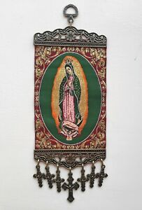 La Virgen De Guadalupe, Our Lady Guadalupe, Textile Wall Hanging With Crosses