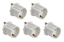 5x PRESA SCHUKO UE Euro 2 Pin a UK 3 Pin Convertitore adattatore da viaggio spina bianco