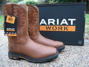 NEW Mens ARIAT WORKHOG Tan Leather Soft Toe Western Work Boots 10005887