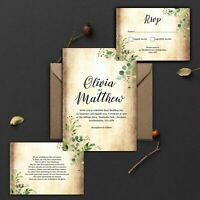 WEDDING INVITATIONS Personalised Vintage Rustic Green leaves PK 10