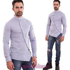 Camisa de hombre coreano casual slim fit manga larga botones sesgo nueva 150653