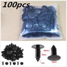 100Pcs Car Bumper Fender Leaf Board Plastic Rivets Fasteners Clips 8mm Dia Hole
