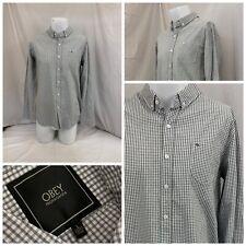 Obey Propaganda Shirt L Gray White Gingham Check Cotton Button Front YGI X0-261