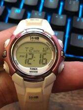 Timex Womens 1440 Sports Digital Display Alarm Silver & Maroon Style White Watch