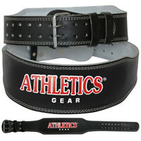 """Weight Lifting 4"""" Leather Belt Back Support Strap Gym Fitness Training Kombat"""