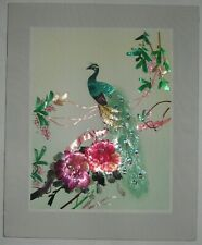 Vintage Peacock Art Hand Cut & Painted Wheat Stalk on Silk 9 x 11