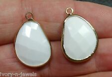 Lovely 1 Inch INTERCHANGEABLE Gold Plated Bezel Set White Earring Charms
