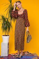 Rixo London Margareta Abstract Rose Thorn Giraffe Midi Dress Size XS