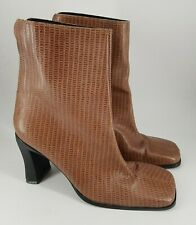 Dolcis size 5 (38) brown faux animal print leather zip up block heel ankle boots