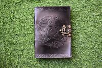 celtic leather grimoire journal black embossed pentagram notebook book of shadow