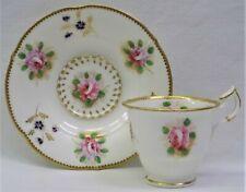 Fine Antique MINTON N-Shape Roses & Gilt #504 CUP & SAUCER, c1830 - 2