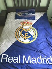 Real Madrid FC Twin Soccer 5-Piece Comforter Sheet Set Blue White Kids Bedding