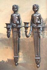 Pair Cherub Putti Angel Bronze Vintage Sconces Candle holders Candelabra Artwork
