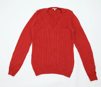 Barbour Womens Size 14 Textured Cotton Red Jumper (Regular)