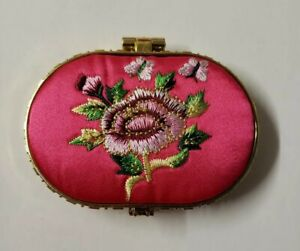 Embroidered pink silk compact double mirror hand-sewn flower & butterfly details