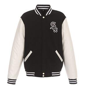 MLB Chicago White Sox Reversible Fleece Jacket PVC Sleeves Front Logos JH Design