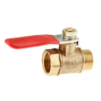 "1/4"" Male to Female Thread Brass Ball Valve Full Port 12mm-Red Lever Handle"