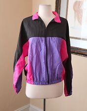 Vtg 90s Color Block Windbreaker Track Jacket Size M Black Purple Pink Retro Rave