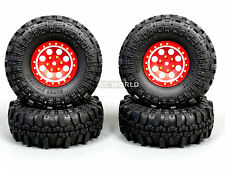 Axial RC 1/10 Scale Truck Rims 1.9 BEADLOCK Metal Aluminum Red w/ SUPER SWAMPERS