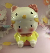 Ceramic Hello Kitty Bank w/ Stopper Vintage Baby Yellow Pink Cat