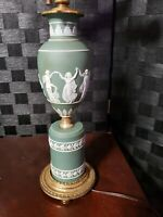Vintage Wedgwood Green Jasperware & Brass Lamp Neoclassical Design 3 Light