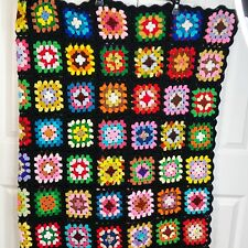 """VTG Granny Square Handmade Crochet Afghan 56""""x64"""" Throw Quilt Couch Black Pink"""