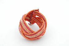 Cuff Coral Seed Beads and Gold Bracelet