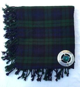 "Scottish Kilt Fly Plaid Black Watch 48"" x 48""/Highland Fly Plaid brooch Green S"