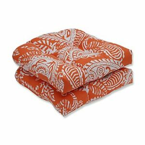 Pillow Perfect Outdoor/Indoor Addie Terra Cotta Tufted Seat Cushions Round Ba...