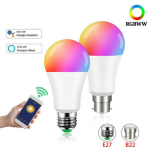 15W Smart LED Light Bulb WiFi Dimmable RGBW Lamp E27 B22 For Alexa Google Home