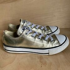 Converse All Star Kids Youth Size 2 Gold Metallic Chuck Taylor Sneakers