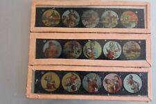 Lotto 3 Piastre Vetro Per Lanterna Magico Vari 1900