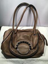 FREE POST Mimco Half Moon Day Bag Taupe Brown Genuine Leather USED handbag purse