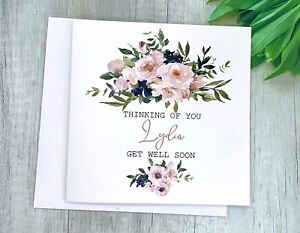 Handmade Personalised Get Well Soon Card, for her, speedy recovery, any name ...