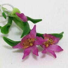 Pink Hybrid Cattleya Orchid Flower Handmade Clay Plant Miniature Dollhouse