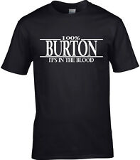 Burton Apellido hombre camiseta 100% Burton Regalo Nombre Familia