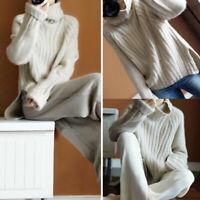 Women Autumn Winter Long Sleeve Pullover Tops Knitted Jumper Turtleneck Sweater
