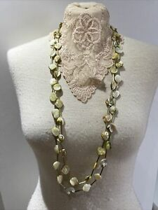 Olive Green Mother Of Pearl Shell Long Statement Necklace X2