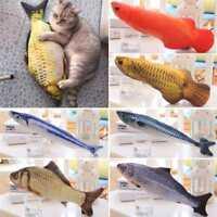 Katze Spielzeug Simulation Plüsch Fisch Haustier Kissen Katzenminze Neu