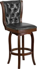 30'' High Cappuccino Wood Barstool with Black Leather Swivel Seat