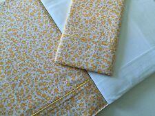 De Lujo Italiano 100% Egipto. Hojas de conjunto de cama individual Percal Cuna Blanco Amarillo Floral