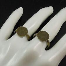 Antique Style Bronze Tone Alloy Adjustable Ring Round Ring Base 19MM Decor 20pcs