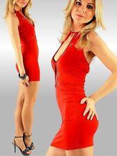 SeXy Miss Gogo Mini Kleid Dance Girly Dress Glamour Strass Steine 34/36/38 Rot