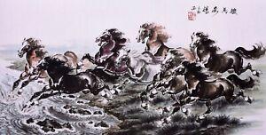 STUNNING ORIGINAL ASIAN ART CHINESE ANIMAL WATERCOLOR PAINTING-Horses Racing