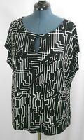 Worthington Woman's Size 3X Black Geometric Sleeveless Pullover Blouse Top