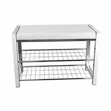 Danya B White Leatherette Storage Entryway Bench with Chrome Frame