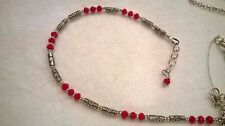 Tibetan silver ankle bracelet, anklet Genuine red turquoise beads, with