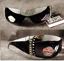 -2-pairs-woman039s-black-foster-grant-rhinestone-glitter-sport-wrap-sunglasses
