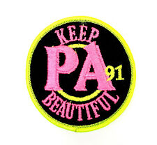 "VTG 1991 Keep Pennsylvania PA Beautiful Pink/Neon Green Environment Patch 3"" bt"